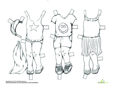 First Grade Seasons Worksheets: Vintage Paper Doll: Summer Outfits