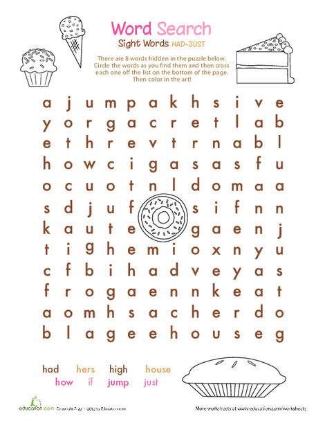 First Grade Reading & Writing Worksheets: Alphabet Word Search: H, I, J
