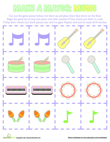 Kindergarten Offline games Worksheets: Music Memory Game