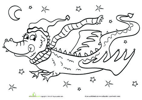 Kindergarten Holidays Worksheets: Year of the Dragon Coloring Page