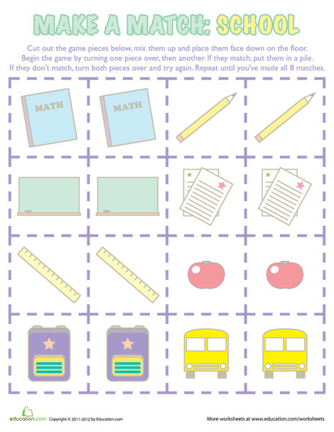 Kindergarten Offline games Worksheets: Memory Game: Back to School