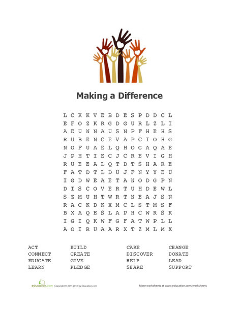 Fourth Grade Offline games Worksheets: Making a Difference Word Search