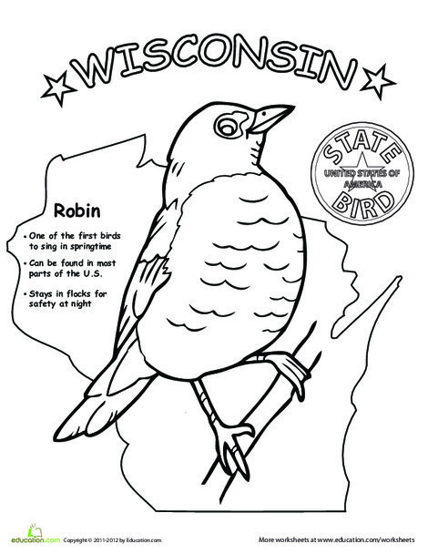 First Grade Coloring Worksheets: Wisconsin State Bird