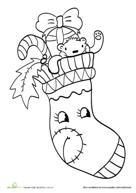 Preschool Holidays Worksheets: Christmas Stocking Coloring Sheet