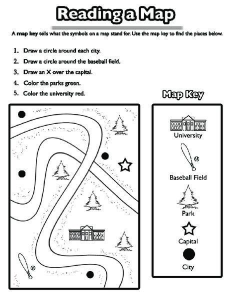 First Grade Social studies Worksheets: Using a Map Key