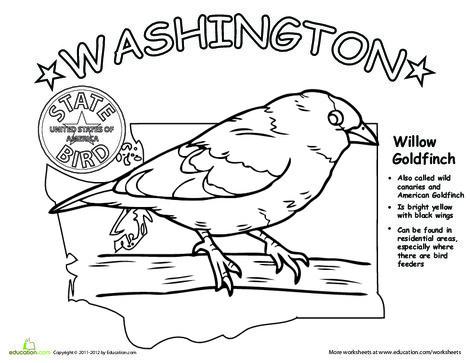 First Grade Coloring Worksheets: Washington State Bird