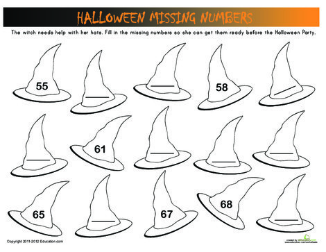 First Grade Math Worksheets: Halloween Numbers: Witch Hats