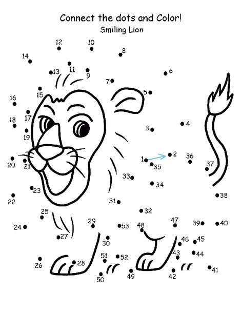First Grade Math Worksheets: Connect the Dots: Lion