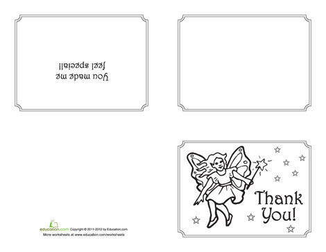 First Grade Arts & crafts Worksheets: Fairy Thank You Card