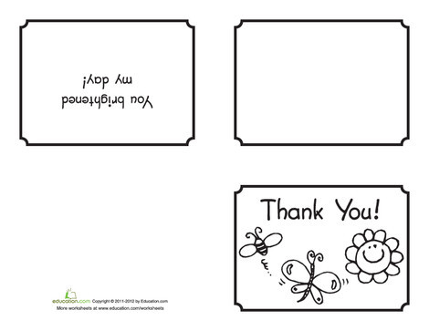 Second Grade Arts & crafts Worksheets: Spring Thank You Card