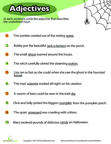 Third Grade Holidays Worksheets: Halloween Adjectives