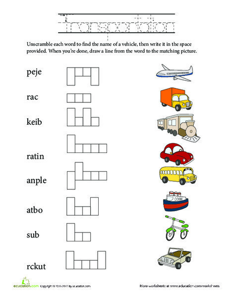 Kindergarten Reading & Writing Worksheets: Unscramble Words: Transportation