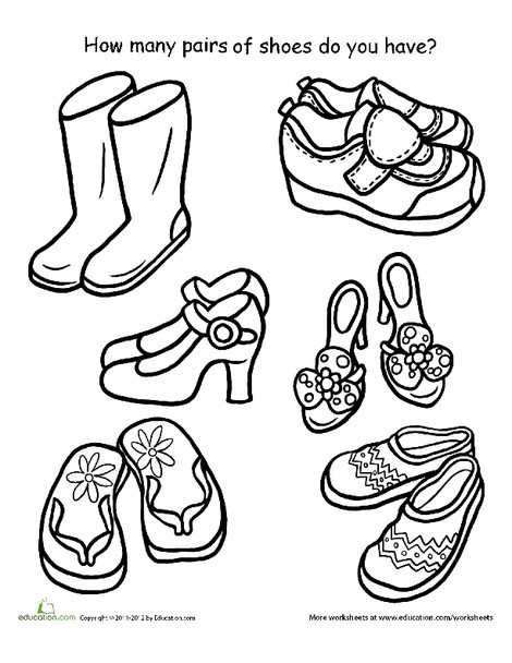 Preschool Math Worksheets: How Many Pairs of Shoes Can You Find?