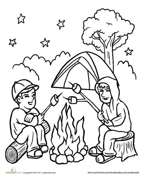 Preschool Coloring Worksheets: Campfire Coloring Page
