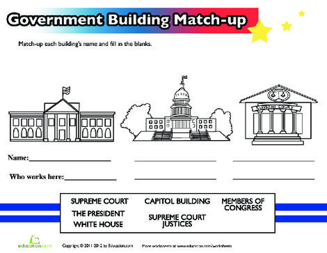 Second Grade Social studies Worksheets: U.S. Government Buildings
