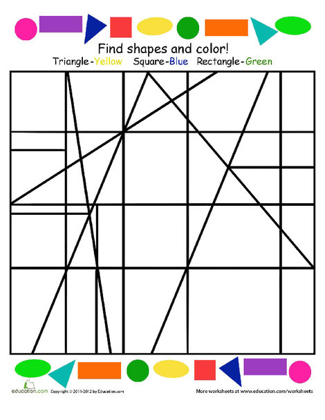 Kindergarten Math Worksheets: Find the Hidden Shapes