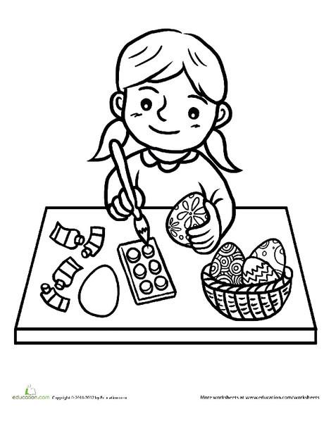 Preschool Holidays Worksheets: Printable Easter Activities: Easter Egg Coloring