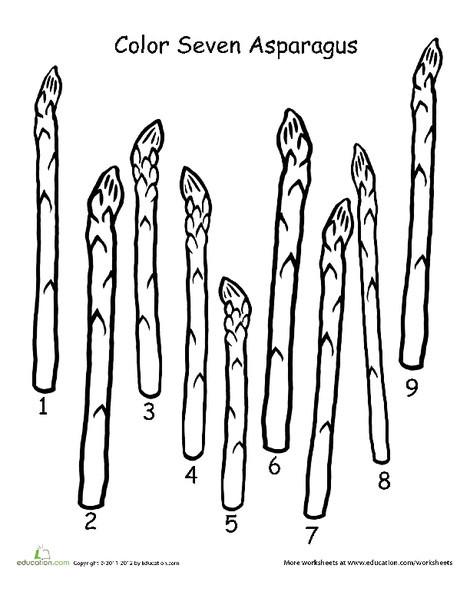 Preschool Math Worksheets: Color Seven Asparagus