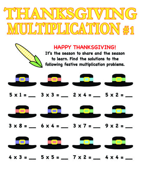 Third Grade Math Worksheets: Thanksgiving Multiplication