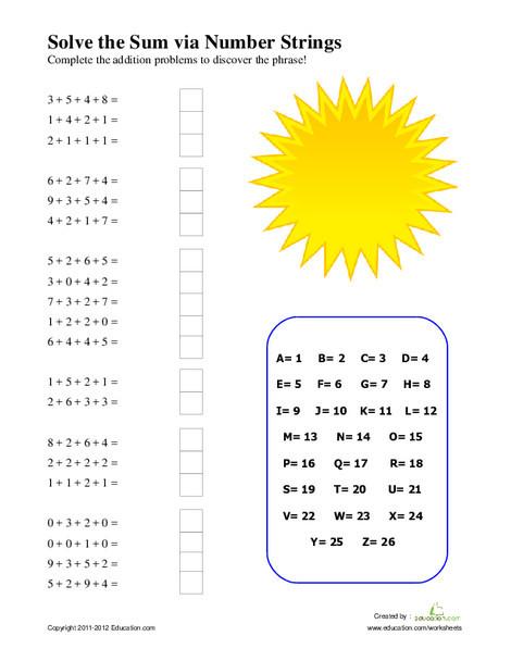 Second Grade Math Worksheets: Number Strings