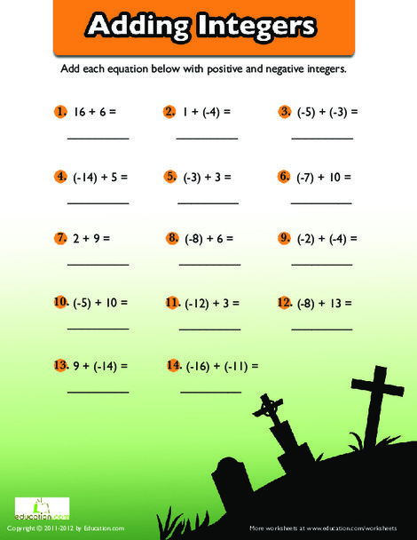 Fifth Grade Holidays Worksheets: Adding Negative Numbers