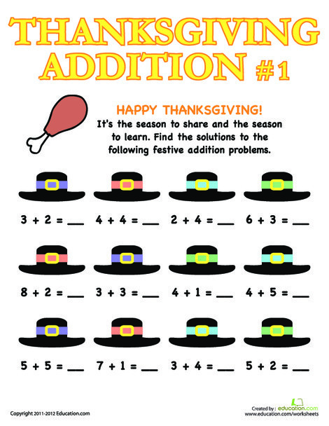 First Grade Math Worksheets: Thanksgiving Addition 1
