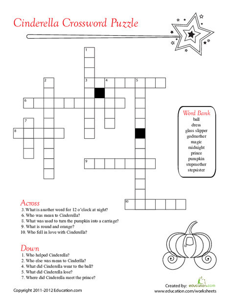 Second Grade Reading & Writing Worksheets: Cinderella Crossword Puzzle