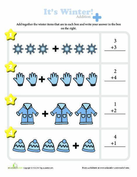Kindergarten Math Worksheets: Winter Wonderland
