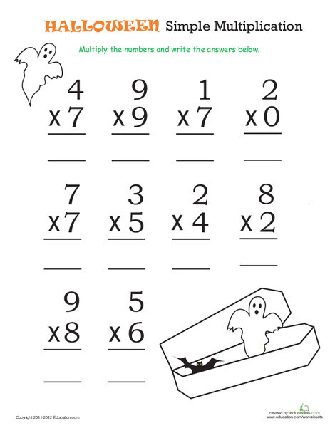 Third Grade Math Worksheets: Halloween Math: Simple Multiplication 1