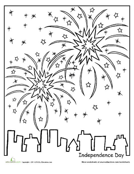 Kindergarten Holidays Worksheets: Independence Day Coloring Page