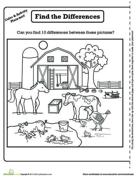 Kindergarten Coloring Worksheets: Farm Activity Placemat