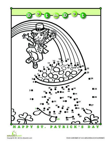 First Grade Holidays Worksheets: Saint Patrick's Day Dot-to-Dot