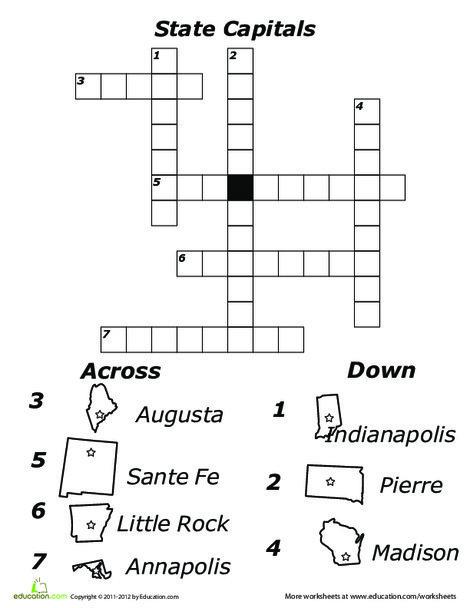 Third Grade Social studies Worksheets: State Capitals Crossword 3