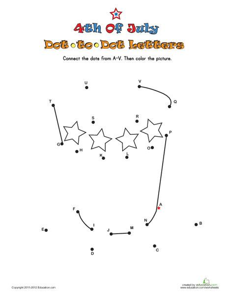 Preschool Reading & Writing Worksheets: July 4th Dot-to-Dot 3