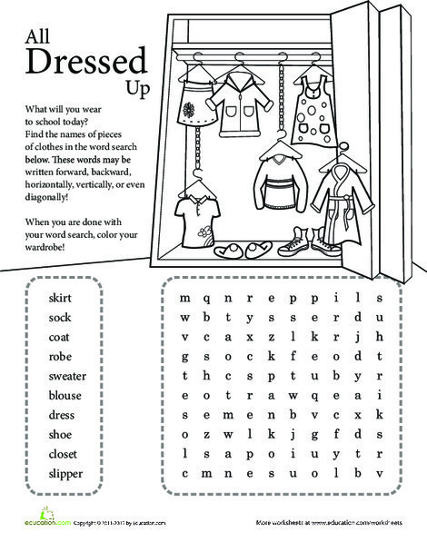 Second Grade Reading & Writing Worksheets: Word Search: All Dressed Up