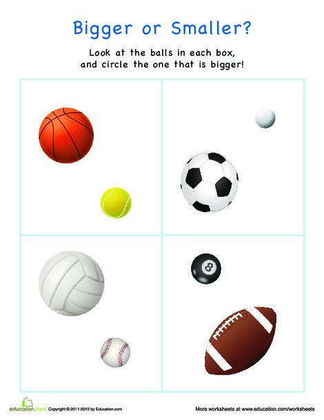 Preschool Math Worksheets: Bigger or Smaller? Sports Balls
