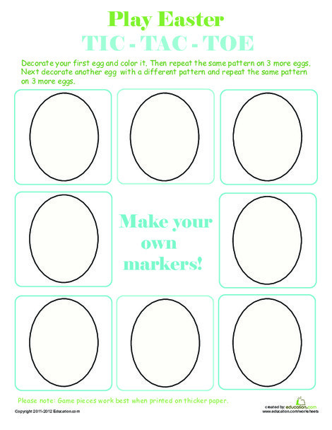 Kindergarten Offline games Worksheets: Play Easter Egg Tic-Tac-Toe