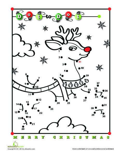 First Grade Holidays Worksheets: Rudolph Dot-to-Dot