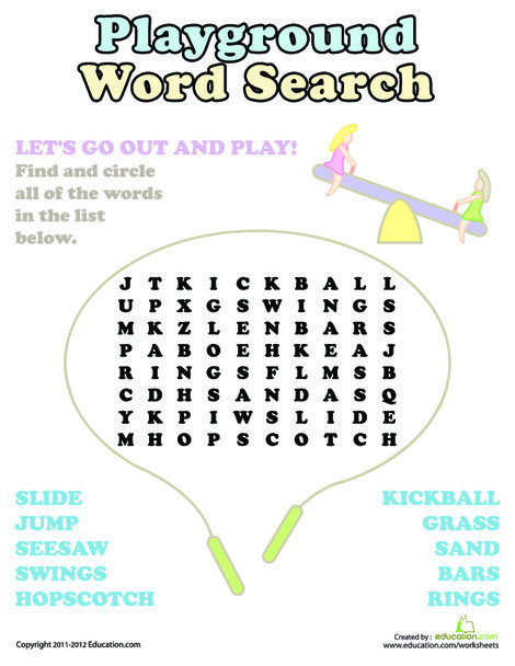 First Grade Reading & Writing Worksheets: Playground Word Search
