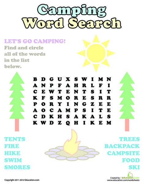 Kindergarten Offline games Worksheets: Camping Word Search
