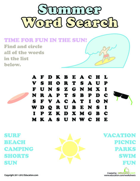 First Grade Reading & Writing Worksheets: Summer Word Search