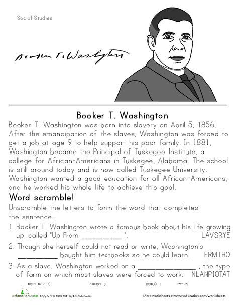 Second Grade Social studies Worksheets: Booker T. Washington: Historical Heroes