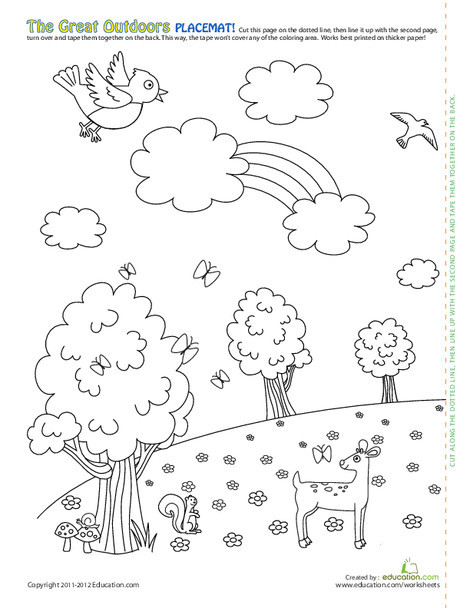Kindergarten Coloring Worksheets: Forest Scene Coloring Page Placemat!