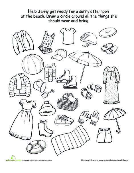 Preschool Science Worksheets: What to Wear to the Beach