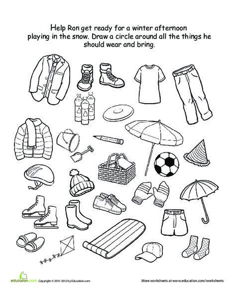 Kindergarten Seasons Worksheets: How to Dress for Winter