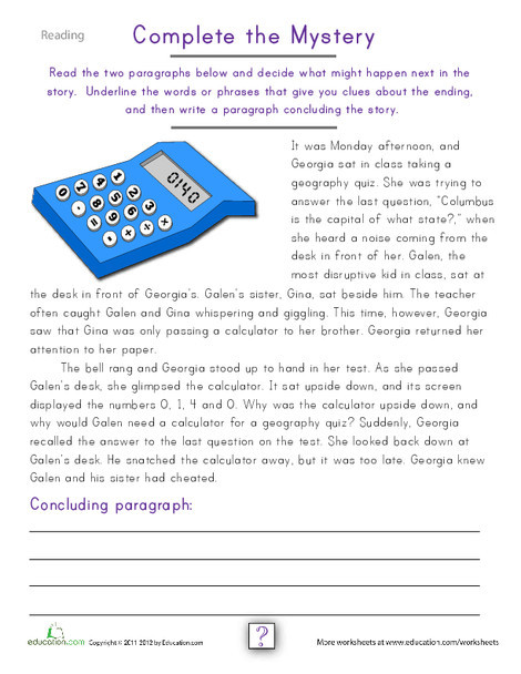 Fourth Grade Reading & Writing Worksheets: Write Your Own Mystery