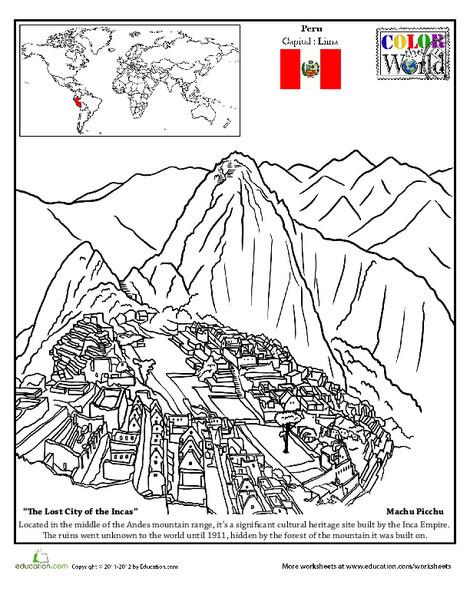 Second Grade Social studies Worksheets: Machu Picchu Coloring Page