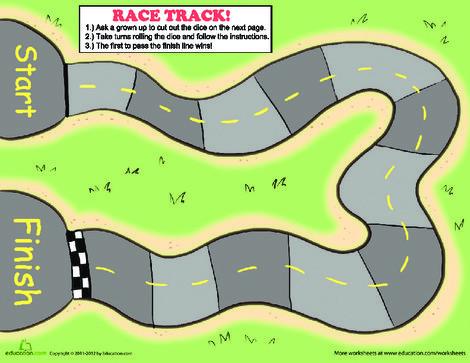 Preschool Offline games Worksheets: Race Track Game