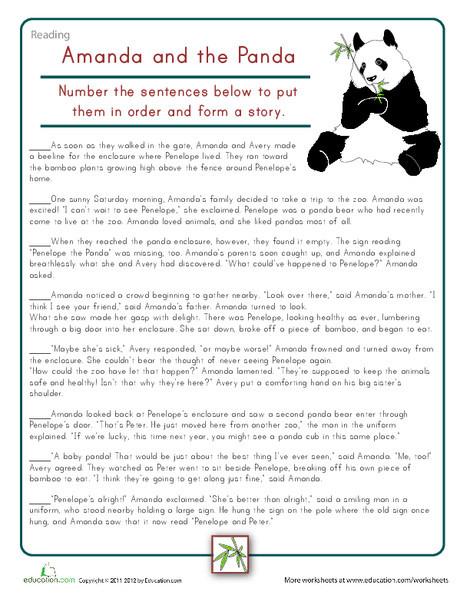 Fourth Grade Reading & Writing Worksheets: Sort the Story: Amanda & the Panda