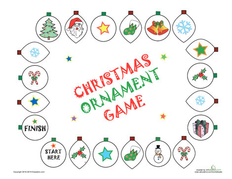 Preschool Holidays Worksheets: Play the Ornament Game